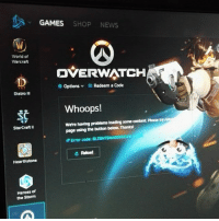 GAMES  SHOP NEWS  World of  Warcraft  OVERWATCH  options  v Redeem a Code  Diablo Ill  Whoops!  content. Please try  were having problems loading  some  page using the button below. Thanks!  Starcraft II  Error code:  BLZBNTBNA000003E8  e Reload  Hearthstone  Heroes of  the Storm Got overwatch origins edition for $40 yay