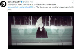 """Tumblr, Work, and Blog: Gamesindustry. @GlBiz . 4m  Simogo has asked PewDiePie to pull Let's Plays of Year Walk  gamesindustry.biz/articles/2017-... """"We don't want our work to be associated with  you  gi coolfreeringtones: second developer to cut ties after Campo Santo"""