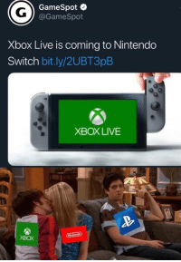 Nintendo, Sony, and Xbox Live: GameSpot  @GameSpot  Xbox Live is coming to Nintendo  Switch bit.ly/2UBT3pB  XBOX LIVE  Nintendo  XBOX A step in the right direction. We need you Sony!