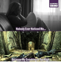 Love, Memes, and Video Games: GAMING  BIBL E  Nobody Ever Noticed Me...  e My Sneaking Is Too High Follow @gamingbible if you love video games!