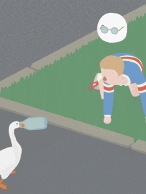 "Children, Clothes, and Fail: gaming: Indie Game Spotlight: Untitled Goose Game  Oh, boy, do we have an extra super horrible Indie Game Spotlight exclusive for you today! We're talking, of course, of Untitled Goose Game, a slapstick simulator, where you play a goose hassling a town full of people who would very much like you to stop hassling them, please. It feels a bit like playing the videogame version of an old cartoon, complete with reactive soundtrack. Everything that happens in the game is very low stakes (the goose doesn't get involved in political scandals, or drive a car off a ramp etc.), but there's a lot of room for comedic performance in doing things like stealing clothes off a washing line and dumping them in a pond. The team at House House shares roles a lot, and so the game was predominantly designed collaboratively by four people. We chatted with Stuart Gillespie-Cook, who mostly works on animation. Also within House House is Jake Strasser, largely responsible for the design of levels and environments, Nico Disseldorp who does all the programming, and Michael McMaster who mostly works on art direction and UI. The iconic sound effects were made by Em Halberstadt, and Dan Golding designed the music. There's also art from Kalonica Quigley and additional UI programming from Cherie Davidson. Stuart Gave us the lowdown on the curious title, the game mechanics, and dream crossovers. Read on! What's the story behind the title of the game? This more or less happened by accident; at first, we just needed something to put on a video we were submitting to a festival. It's become one of the best things about the game, and I'm so glad we stuck with it. I will say it's a weird thing to explain when your very not-online hairdresser asks you ""oh, what game are you working on?""   How did the team come up with the animation style? The whole visual style of the game is designed to be nice and clean, very readable and approachable. The animation specifically takes a lot of inspiration from slapstick and pantomime—with big, over the top reactions that are impossible to miss. We wanted to squeeze as much emotion as possible out of these people without facial expressions, so everything has to be evoked with body language. We also lean heavily on two dimensional, hand-drawn effects that are lifted from comics—lines to represent the direction of a honk, stars when someone hits their thumb with a hammer, etc.   Untitled Goose Game offers a unique take on the puzzle genre. What other mechanics can we expect? Because it's a game that's largely about interacting with a bunch of people, the game borrows heavily from AI systems in stealth games. Playing with a character's awareness of where the goose is, where they left their stuff, where that sound came from etc. is a big part of the comedy of the game. So, while it's less restrictive than most stealth games, and there's no real fail state (ie. if a character sees a goose, they'll think ""ah, there's a goose"" rather than ""I'd better shoot and kill that spy""), those explicit behaviours that are so present in the stealth genre are really important in our goose game. If you could have the goose cross over into any cinematic or game universe, what would it be and why? It would be nice to see the goose chase Postman Pat over a hedgerow. That era of British children's television has been a huge influence on the game. Otherwise, we're always open to having the goose in Smash. Are you ready to fulfill your wildest dreams of becoming a mischevious goose and harassing people? Of course you are! Check out the website to find out how you can get your hands wings on Untitled Goose Game!"