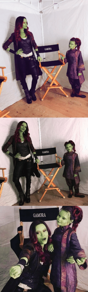 Tumblr, Blog, and Http: GAMORA   GAMORA   GAMORA dailymarvelheroes: Zoe Saldana and Ariana Greenblatt on the set of Infinity War