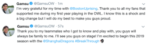 delfyi:  : Gamsu@GamsuoW 1m  I'm very grateful for my time with @BostonUprising. Thank you to all my fans that  supported me during my first year playing in the OWL. I know this is a shock and  a big change but I will do my best to make you guys proud.   Gamsu. @GamsuOW . 57s  Thank you to my teammates who I got to know and play with, you guys will  always be family to me. I'll see you guys on stage! I'm excited to begin this 2019  season with the @ShanghaiDragons #BreakThrough 9 delfyi: