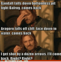 No, sorry Boromir :( ~Cissy: Gandalf falls down bottomless lit  fight Balrog, comes back  Aragorn falls off cliff, face down in  water, comes back  I get shot by a dozen arrows. I'll come  back. Right? Right?  SET PHASERSTO LOL No, sorry Boromir :( ~Cissy