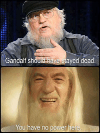 Shouls: Gandalf shoule have stayed dead  You have no power here,