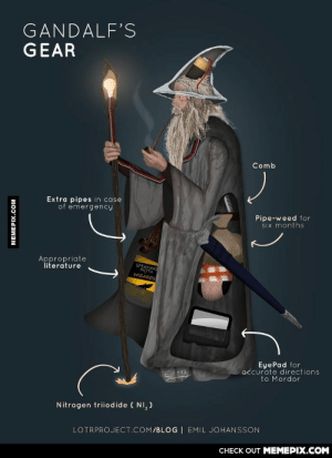 Gandalf geared as f**k!omg-humor.tumblr.com: GANDALF'S  GEAR  Comb  Extra pipes in case  of emergency  Pipe-weed for  six months  Appropriate  literature  SPEAKING  MOTH  WIZARDS  EyePad for  accurate directions  to Mordor  Nitrogen triiodide ( NI, )  LOTRPROJECT.COM/BLOG | EMIL JOHANSSON  CHECK OUT MEMEPIX.COM  MEMEPIX.COM Gandalf geared as f**k!omg-humor.tumblr.com