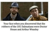 your face when: GANG COMMA  niatteo  Your face when you discovered that the  robbers of the 101 Dalmatians were Doctor  House and Arthur Weasley