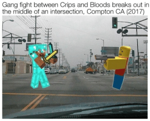 Crips: Gang fight between Crips and Bloods breaks out in  the middle of an intersection, Compton CA (2017)