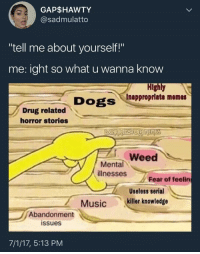 """Blackpeopletwitter, Dogs, and Memes: GAP$HAWTY  @sadmulatto  """"tell me about yourself!""""  me: ight so what u wanna know  Highly  Inappropriate memes  Dogs  Drug related  horror stories  Weed  Mental  illnesses  Fear of feeling  Useless serial  7  Abandonment  Musickiller knowledge  issues  7/1/17, 5:13 PM <p>First dates are always fun (: (via /r/BlackPeopleTwitter)</p>"""