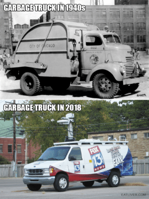 The Evolution of Garbage Trucks: GARBAGE TRUCKIN  1940s  CITY OF CHICAGO  692  BUREAU OF STREETS  GARBAGE TRUCK IN 2018  EATLIVER.COM.. The Evolution of Garbage Trucks