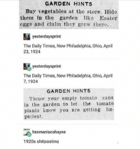 Children, Easter, and Memes: GARDEN HINTS  Buy vegetables at the store. Hide  them in the garden like Easter  eggs and clalm they grew t  yesterdaysprint  The Daily Times, New Philadelphia, Ohio, April  23, 1924  N yesterdaysprint  The Daily Times, New Philadelphia, Ohio, April  7, 1924  GARDEN HINTS  Throw yor empty tomato cans  in the garden to let the tomato  plants know you re getting im  patient.  hexmaniacshayne  1920s shitpostina im trying to prevent children from murdering each other by telling them some real world facts™