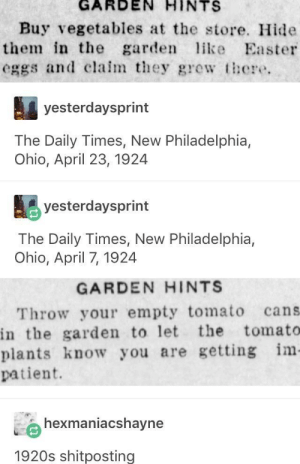 The Daily Times, New Philadelphia, Ohio: GARDEN  HINTS  Buy vegetables at the store. Hide  them in the garden ke Easter  eggs and clalmey grew there.  yesterdaysprint  The Daily Times, New Philadelphia,  Ohio, April 23, 1924  yesterdaysprint  The Daily Times, New Philadelphia,  Ohio, April 7, 1924  GARDEN HINTS  Throw your empty tomato cans  in the garden to let the tomato  plants know you are getting im  patient.  hexmaniacshayne  1920s shitposting The Daily Times, New Philadelphia, Ohio