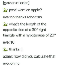 Goddammit adam: [garden of eden]  2: psst! want an apple?  eve: no thanks i don't sin  2: what's the length of the  opposite side of a 30° right  triangle with a hypotenuse of 20?  eve: 10  thanks;)  adam: how did you calculate that  eve: oh no Goddammit adam