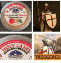 Gardie Basil Tomato  Hummus  ORIGINAL FLAVORs OLD of WORLD  THE OVER FATIMA RE  320  THE NAME You CAN TRUST  Since 987  TRIGGERED Lmaooo these crusade memes are the best