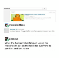 "why is no one talking about the ""Garfield vore"" in the search bar - Max textpost textposts: garfield vore  Garfield shows how huge his appetite really is  by Temdan  7 years ago 166,180 views  Garfiald and Friends ""Nighty Nghtmare"" ht/www.emdant.com Garfiald  Garfield m Even in is reams Garfield is a big eaer  mentalmittens  Ravisher125 4 years ago  My friend Spencer Perry got his first boner from watching this scene as a child  phoneusS  What the fuck ravisher125 just laying his  friend's shit out on the table for everyone to  see first and last name why is no one talking about the ""Garfield vore"" in the search bar - Max textpost textposts"