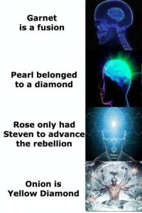 Memes, Diamond, and Onion: Garnet  is a fusion  Pearl belonged  to a diamond  Rose only had  Steven to advance  the rebellion  Onion is  Yellow Diamond •Green Space•  Source: http://stevensdankmemes.tumblr.com/post/157636096452/su-theories-over-time-and-their-intellectualism