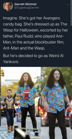 ME_IRL: Garrett Gilchrist  @TygerbugGarrett  Imagine. She's got her Avengers  candy bag. She's dressed up as The  Wasp for Halloween, escorted by her  father, Paul Rudd, who played Ant-  Man, in the actual blockbuster film,  Ant-Man and the Wasp.  But he's decided to go as Weird Al  Yankovic ME_IRL