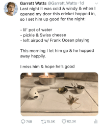 "Frank Ocean, Twitter, and Cricket: Garrett Watts @Garrett_Watts 1d  Last night it was cold & windy & when I  opened my door this cricket hopped in,  so I set him up good for the night:  lil' pot of water  pickle & Swiss cheese  - left airpod w/ Frank Ocean playing  This morning I let him go & he hopped  away happily  I miss him & hope he's good  9748 5.5 62.3K <p>I helped a cricket on Twitter &amp; it went viral. via /r/wholesomememes <a href=""http://ift.tt/2ybwGM1"">http://ift.tt/2ybwGM1</a></p>"