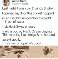 Frank Ocean, Memes, and Cricket: Garrett Watts  @Garrett.Watts  Last night it was cold & windy & when  l opened my door this cricket hopped  in, so I set him up good for the nigh  lil' pot of water  pickle & Swiss cheese  left airpod w/ Frank Ocean playing  This morning I let him go & he hopped  away happily.  I miss him & hope he's good Soooomewhereeeee outttt thereeee