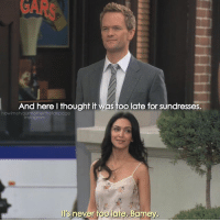Barney, Instagram, and Irs: GARS  And here l thought it was too late for sundresses.  howimetyourmotherthefanpage  instagram  Ir's never too late, Bamey {6x24} Did you ship Barney and Nora? I didn't😬 -- Scene requested by @abshar_awale himym howimetyourmother sitcom barneystinson neilpatrickharris