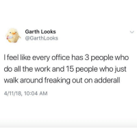 Work, Office, and Adderall: Garth Looks  @GarthLooks  I feel like every office has 3 people who  do all the work and 15 people who just  walk around freaking out on adderall  4/11/18, 10:04 AM