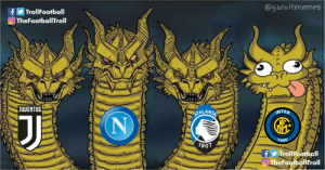 Serie A clubs in Champions League https://t.co/JfuGwdkhT5: @garvitmemes  TrollFootball  f  O TheFootballITroll  JUVENTUS  INTER  ATALANTA  1908  1907  fy TrollFootball  OTheFootballfroll Serie A clubs in Champions League https://t.co/JfuGwdkhT5