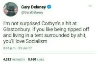Im Not Surprised: Gary Delaney  @GaryDelaney  I'm not surprised Corbyn's a hit at  Glastonbury. If you like being ripped off  and living in a tent surrounded by shit,  you'll love Socialism  3:45 p.m. 25 Jun 17  4,282 RETWEETS 8,160 LIKES
