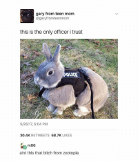 Bad, Bitch, and Internet: gary from teen mom  @garyfromteenmom  this is the only officer i trust  OLICE  5/26/17, 5:04 PM  30.4K RETWEETS 68.7K LIKES  ma  aint this that bitch from zootopia  m86 I haven't played overwatch in two weeks cause my internet is so bad I love it