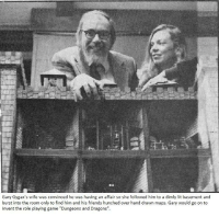 "Friends, Lit, and Game: Gary Gygax's wife was convinced he was having an affair so she followed him to a dimly lit basement and  burst into the room only to find him and his friends hunched over hand drawn maps. Gary would go on to  invent the role playing game ""Dungeons and Dragons"". Wholesome Affair"