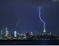Friday, Memes, and New York: Gary Hershorn Lightning strikes the EmpireStateBuilding in New York City Friday night. garyhershorn