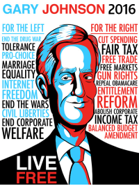 Clowns to the left of me, Jokers to the right. (x-post /r/CheckYourJohnson): GARY JOHNSON  2016  FOR THE LEFT  FOR THE RIGHT  CUT SPENDING  TOLERANCE  A  FAIR TAX  FREE TRADE  MARRIAGE  FREE MARKETS  EQUALITY  GUN RIGHTS  INTERNET  REPEAL OBAMACARE  FREEDOM  ENTITLEMENT  END THE WARS  REFORM  ABOLISH CORPORATE  CIVIL LIBERTIES  INCOME TAX  END CORPORATE  BALANCED BUDGET  WELFARE  AMENDMENT  LIVE  FREE Clowns to the left of me, Jokers to the right. (x-post /r/CheckYourJohnson)