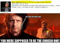 """-The Pholosopher: Gary Johnson Backs CO2 """"Fee To Fight Global Warming  Daily Caller-Aug 22, 2016  Libertarian Party presidential candidate Gary Johnson looks on during warmin  includes a fee  not a tax, he said placed on carbon"""" to  The Libertarian  Just bake the damn cake.  YOU WERE SUPPOSED TO BE THE CHOSEN ONE! -The Pholosopher"""