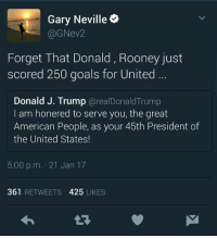 Gary Neville 😂😂: Gary Neville  (a ev2  Forget That Donald, Rooney just  scored 250 goals for United  Donald J. Trump  areal Donald Trump  I am honered to serve you, the great  American People, as your 45th President of  the United States!  5:00 p.m. 21 Jan 17  361  RETWEETS  425  LIKES Gary Neville 😂😂