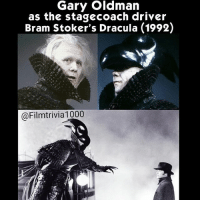 """Memes, Blue, and Camera: Gary Oldman  as the stage coach driver  Bram Stoker's Dracula (1992)  @Filmtrivia 1000 While Gary Oldman was counting how many different phsiychal forms he had in 1992's Bram Stocker's Dracula, he said he was aslo the mysterious coach driver who picks up Jonathan Harker (Keanu Reeves) to bring him to the castle. In the film, the coach drivers arm seems to extend 10 to 15 feet to grab Harker and pull him into the carriage. Gary was sitting on a dolly while Keanu was standing on another that made it appear as if the drivers' arm extended. The blue flame that the carriage crosses over to enter the castle is mentioned in the original book. The flame is the only optical effect in the entire film. Every other effect before & after it was achieved completely """"in-camera"""" on the set with no post-production effects work. Francis Ford Coppola was adamant about doing the entire movie with only golden age techniques. Movie Film Trivia Cinephile Cinematic Cine Cinematic ProductionDesign FilmProduction Director DirectorOfPhotography FilmMaking FilmIndustry Screenplay ActressLife ActorsLife FilmBuff CinePhileCommunity BehindTheScene FunFact FilmMaking ProductionDesigner Collages DidYouKnow Production MotionPicture ILoveMovies Movieset FilmNerd MovieGeek MovieCollection"""