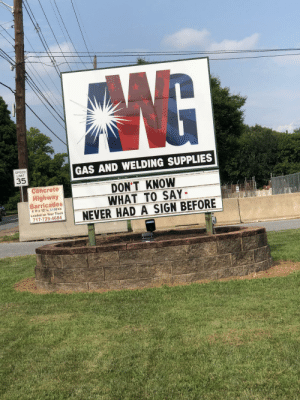 Business, How To, and Welding: GAS AND WELDING SUPPLIES  35  Concrete  Highway  Barricades  DON'T KNOW  WHAT TO SAY  7729464NEVER HAD A SIGN BEFORE  TE How to win business