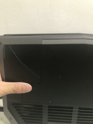 Hello everyone,I need help,my Alienware R13 2 has currently been heating up to the max and I don't know what to do.This is the below of the laptop while the top has a huge blow.: GAU  we  7m  1884 Hello everyone,I need help,my Alienware R13 2 has currently been heating up to the max and I don't know what to do.This is the below of the laptop while the top has a huge blow.