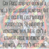 Dank, 🤖, and One: GAV PRIDE WAS NOT BORN OF A  NELD TO CELEBRATE BEING CAV, BU  THE RIGHT TO EIST WITHOUT  PERSECUTION SO INSTEAD OP  WONDERINC WAY THERE SN'TA  STRAIGHT PRIDE MOVEMENT, BE  THANKFUL VOU DON'T NEED ONE this is why we have #Pride 🌈
