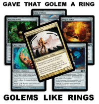 """<p><a class=""""tumblr_blog"""" href=""""http://mtg-realm.tumblr.com/post/35588500509/magic-the-gathering-im-putting-money-on"""">mtg-realm</a>:</p> <blockquote> <p>Magic: the Gathering</p> <p>I'm putting money on Transguild Courier getting the reprint in Dragon's Maze.</p> </blockquote>: GAVE THAT GOLEM A RING  Ring of Thune  Ring of Kalonia  Ring of Valkas  Transguild Courier  Art  der  lq  (even if this card isn't in play).  Reluctant to meet face to face, the  leaders of the ten guilds prefer to do  Artifact Creature- Golem  Transguild Courier is all colors  Artifact Equipment  3/3  2: Equipped creature gains hexp  end of turn. tca be the sange of  alláries yeur opponcrets contno.)  official business uhrough a go-bettvcen  At the beginning of your upkecp, pu  1/+1 counter on equipped creature  bluc.  uipped creature. (The next  oimmune to bribes and threats  be destroyed this ur, ir  INsead tap il, roewe all damage from it.  Equip 1 (:Amackh to tarer creature yew  control. Equip only as ฉ sorcery.)  and romoce it from combar)  At the beginning of  Equip (1  creature if it's black  a 14  GOLEMS LIKE RINGS <p><a class=""""tumblr_blog"""" href=""""http://mtg-realm.tumblr.com/post/35588500509/magic-the-gathering-im-putting-money-on"""">mtg-realm</a>:</p> <blockquote> <p>Magic: the Gathering</p> <p>I'm putting money on Transguild Courier getting the reprint in Dragon's Maze.</p> </blockquote>"""