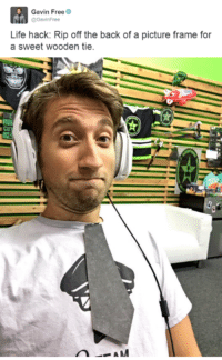 Another 'You Tube' channel that I have discovered is Rooster Teeth. They are quite entertaining. I am quite partial to Gavin, although I'm not very sure what happens in his head sometimes. ~ Anubis: Gavin Free  GavinFree  Life hack: Rip off the back of a picture frame for  a sweet wooden tie.  AM Another 'You Tube' channel that I have discovered is Rooster Teeth. They are quite entertaining. I am quite partial to Gavin, although I'm not very sure what happens in his head sometimes. ~ Anubis