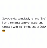 "Politics, Twitter, and Grindr: Gay Agenda: completely remove ""Bro""  from the mainstream vernacular and  replace it with ""sis"" by the end of 2019 Finally some politics I can get behind, sis. (twitter-_NickyThomas)"