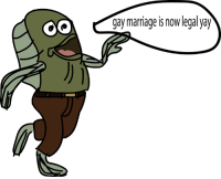gay marriage IS noW legal yay Fred from spongebob after finding out that gay marriage is legal, goes to his boyfriends house and is going to ask to marry him.