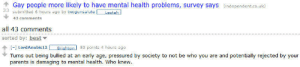 Survey Says: Gay people more likely to have mental health problems, survey says (independent.co.uk)  33  submitted 6 hours ago by twogunsalute  Lestah  43 comments  all 43 comments  sorted by: best v  [-] LordAnubis12  83 points 4 hours ago  Brighton  Turns out being bullied at an early age, pressured by society to not be who you are and potentially rejected by your  parents is damaging to mental health. Who knew.