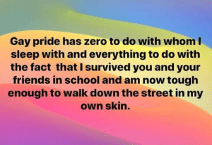 i survived: Gay pride has zero to do with whom I  sleep with and everything to do with  the fact that I survived you and your  friends in school and am now tough  enough to walk down the street in my  own skin.