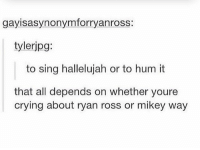 so hUM HALLELUJAH: gayisasynonymforryanross:  tylerjpg:  to sing hallelujah or to hum it  that all depends on whether youre  crying about ryan ross or mikey way so hUM HALLELUJAH