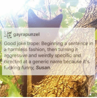 Fashion, Fucking, and Funny: gayrapunzel  Good joke trope: Beginning a sentence in  a harmless fashion, then turning it  aggressive and weirdly specific and  directed at a generic name because it s  fucking funny, Susan, SUSAN