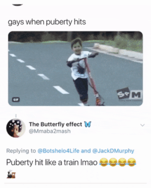 Dank, Memes, and Target: gays when puberty hits  The Butterfly effect W  @Mmaba2mash  Replying to @Botshelo4Life and @JackDMurphy  Puberty hit like a train Imao Y'all don't understand the accuracy by O-shi FOLLOW HERE 4 MORE MEMES.