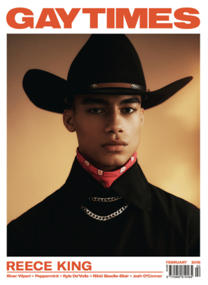 """Love, Tumblr, and Stars: GAYTIMES  FEBRUARY 2018  REECE KING  River Viiperi + Peppermint + Kyle DeVolle + Rikki Beadle-Blair + Josh O'Connor  9哼70950""""610185 THE ABOVE ARE TWO PUBLICATIONS I ONLY RECENTLY STARTED READING.Both are so similar, and yet so different but the thing that I love about both is how encouraging they are of young talent. Gen Z writers, stylists, interview subjects and even cover stars are abundant in both and it makes me feel so great knowing they exist.I highly suggest you start reading (online or print) these wonderful magazines. Euphoria  Gay Times I salute you."""