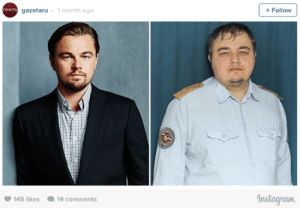 A Russian Leonardo DiCaprio Doppelgänger Leans Hard Into it and Sings 'My Heart Will Go On': gazetaru - 1 month ago  + Follow  rasera  Instagram  145 likes  14 comments A Russian Leonardo DiCaprio Doppelgänger Leans Hard Into it and Sings 'My Heart Will Go On'