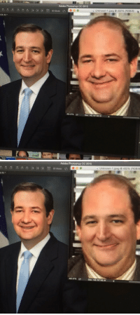 Adobe, Memes, and Ted Cruz: GB/8)  Adobe Photoshop CO 2015  Unknown-1 jpeg 402% (RGB/8)  402.07%  Doc: 148 1K/148.1K   8/8)  Adobe Photoshop CC2015  e Unknown 1.ipeg G 402% (RGB/8  3D Mode:  402.07%  Doc: 148.1K 148.1K Ok but if you face swap Kevin from The Office & Ted Cruz they are actually the same person -: