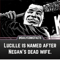 Love, Memes, and Movies: GDAILYCOMICFACTS  LUCILLE IS NAMED AFTER  NEGAN'S DEAD WIFE That's kind of poetic. He can't smash his wife so he smashed people with his wife. • strangerthings gameofthrones thewalkingdead gotham arrow powerrangers justiceleague movies Riverdale tvshows theflash supergirl rickandmorty wonderwoman brooklynninenine bigbangtheory marvel nintendoswitch starwars dbz mw love followme legion like spiderman covenant 13reasonswhy gotg2 twd